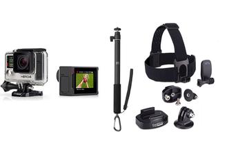 Caméra sport HERO4 SILVER + 2 FIXATIONS + QUICKCLIP + PERCHE Gopro