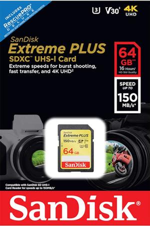 Carte mémoire SD Sandisk Extreme Plus SDXC Card 64GB
