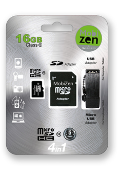 Carte micro SD MICRO SD 4EN1 16GB + ADAPTATEURS Mobizen