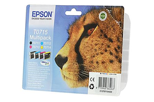 cartouche d 39 encre epson pack guepard t0715 4 couleurs 1180290. Black Bedroom Furniture Sets. Home Design Ideas