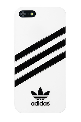 Adidas Coque brillante Adidas Blanc rayures noire pour iPhone 5/5S
