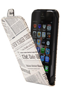 Akashi ETUI FLIP EFFET JOURNAL NEW YORKER TRIBUNE POUR IPHONE 5/5S