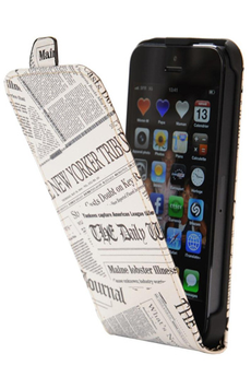 Housse pour iPhone ETUI FLIP EFFET JOURNAL NEW YORKER TRIBUNE POUR IPHONE 5/5S Akashi