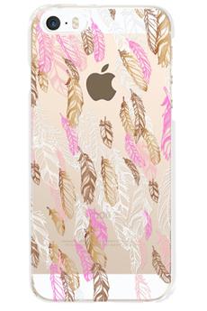 Housse pour iPhone COQUE DE PROTECTION OR AVEC MOTIF PLUMES POUR IPHONE SE Bigben