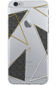 Housse pour iPhone COQUE DE PROTECTION TRANSPARENTE TRIANGLE NOIR ET OR POUR IPHONE 7 Bigben