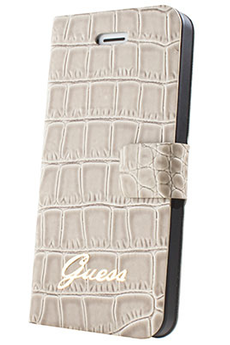 Housse pour iPhone ETUI IPHONE 5S CROCO BEIGE Guess