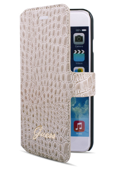 Housse pour iPhone ETUI FOLIO CROCO BEIGE POUR IPHONE 6/6S Guess