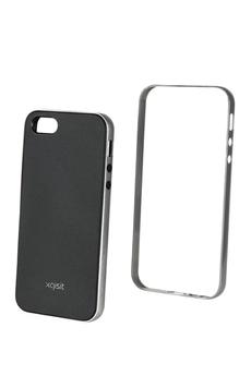 Housse pour iPhone COQUE IPHONE5 GRIS/NOIR Xqisit