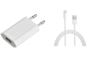 Chargeur pour iPhone CHARGEUR SECTEUR USB + CABLE LIGHTNING/USB 1M Apple