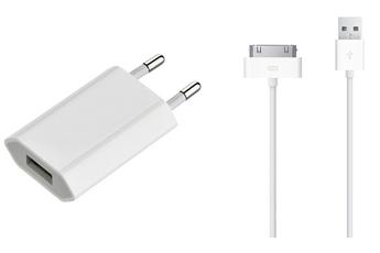 Chargeur pour iPhone CHARGEUR SECTEUR USB AVEC CABLE 30 PIN VERS USB Apple
