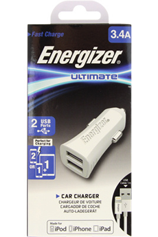 Chargeur pour iPhone Chargeur allume-cigare Ultimate 2 USB Lightning 3.4A Blanc Energizer