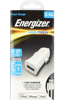 Chargeur pour iPhone Chargeur allume-cigare HIGHTECH USB Lightning 2.4A Blanc Energizer