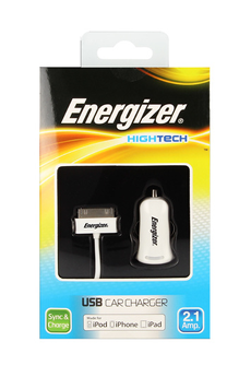 Chargeur pour iPhone Chargeur allume-cigare HIGHTECH USB Blanc iPhone 3GS / 4 / 4S Energizer