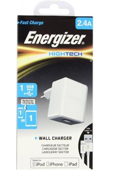 Chargeur pour iPhone CHARGEUR SECTEUR Hightech USB Lightning 2.4A Blanc Energizer