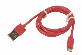 Chargeur pour iPhone CABLE LIGHTNING 1M ROUGE Temium