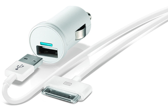 Chargeur pour iPhone ALLUME CIGARE USB BLANC AVEC CABLE 30 PIN Temium