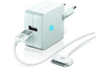 Chargeur pour iPhone CHARGEUR SECTEUR USB BLANC 2.1A AVEC CABLE 30 PIN Temium