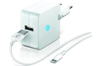 Chargeur pour iPhone CHARGEUR SECTEUR USB BLANC 2.1A AVEC CABLE LIGHTNING Temium