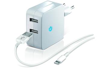 Chargeur pour iPhone CHARGEUR SECTEUR DOUBLE USB BLANC 2.1A AVEC CABLE LIGHNING Temium