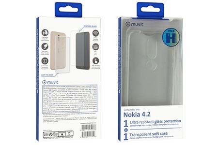 Verre TREMPE Muvit Pack Coque Souple Transparente Nokia 4.2