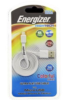 """Chargeur pour téléphone mobile Câble micro-USB blanc ultra-plat """"Hightech"""" Energizer"""