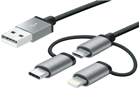 c ble micro usb mobility lab cable 3 en 1 micro usb lightning usb type c cable 3 en 1 darty. Black Bedroom Furniture Sets. Home Design Ideas