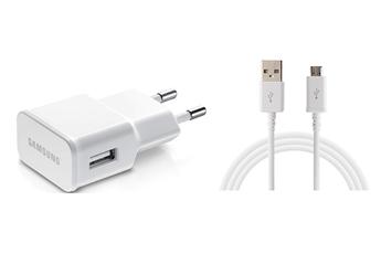Chargeur pour téléphone mobile CHARGEUR SECTEUR USB BLANC 2A AVEC CABLE MICROUSB VERS USB BLANC Samsung