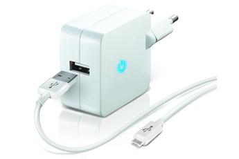 Chargeur portable CHARGEUR SECTEUR USB BLANC 2.1A AVEC CABLE MICROUSB Temium