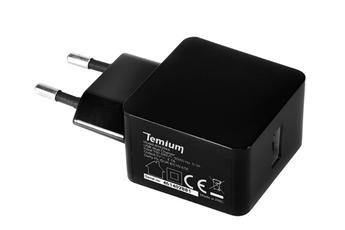 Chargeur pour téléphone mobile CHARGEUR SECTEUR USB 2.1A NOIR Temium