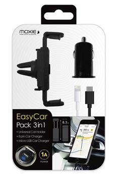 Support pour téléphone mobile SUPPORT UNIVERSEL VOITURE AVEC CHARGEUR ALLUME-CIGARE Moxie