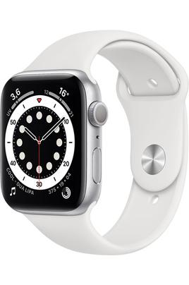 Apple Apple Watch Series 6 GPS, 44mm boitier aluminium argentl avec bracelet sport blanc