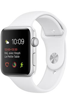 Apple watch WATCH SERIE 1 38MM CADRAN ALUMINIUM COULEUR ARGENT BRACELET SPORT BLANC Apple