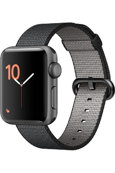 Apple watch WATCH SERIE 2 38MM ALUMINIUM COULEUR GRIS SIDERAL BRACELET NYLON NOIR Apple