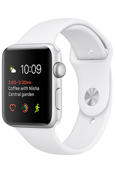 Apple watch WATCH SERIE 1 42MM CADRAN ALUMINIUM COULEUR ARGENT BRACELET SPORT BLANC Apple