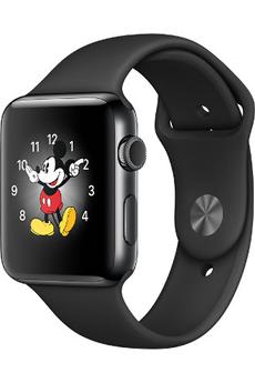 Apple watch WATCH SERIE 2 42MM ACIER COULEUR GRIS SIDERAL BRACELET SPORT NOIR Apple