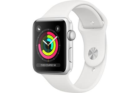 Apple watch APPLE APPLE WATCH SÉRIE 3 38MM BOÎTIER EN ALUMINIUM ARGENT AVEC BRACELET SPORT BLANC