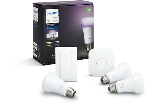 Philips HUE WHITE & COLORS E27 KIT DE DEMARRAGE - 3 AMPOULES HUE WHITE AND COLORS E27 + PONT DE CONNEXION HUE + TELECOMMANDE VARIATEUR HUE