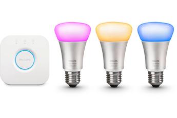 Ampoules connectées HUE Kit de démarrage - 3 ampoules Hue White and Color E27 + pont de connexion Hue - V2 Philips
