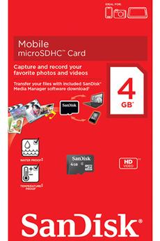 Carte mémoire MICRO SDHC 4 GO Sandisk