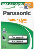 Pile rechargeable Panasonic EVOLTA AAA LR03 750 mAh x2