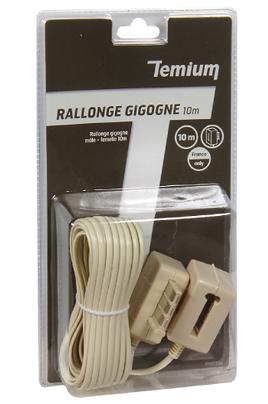 Cordon et fiche téléphone Rallonge Gigogne Mâle / femelle 10m Temium